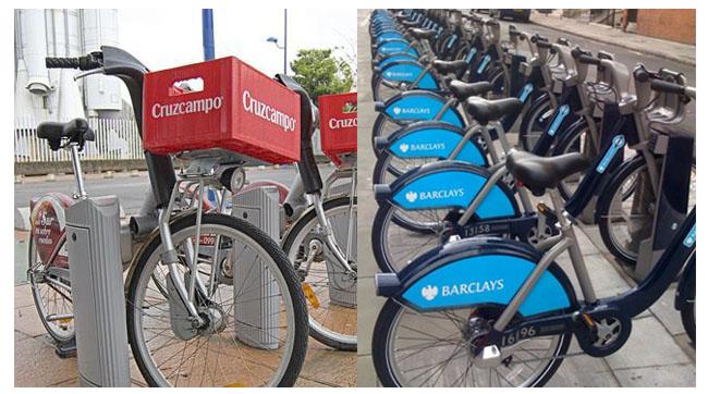 La bici como soporte publicitario. Publicidad en bicicleta.